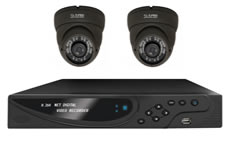 Two Camera System with 600TVL Vandal Dome Cameras (White or Grey) + 960H Real Time DVR
