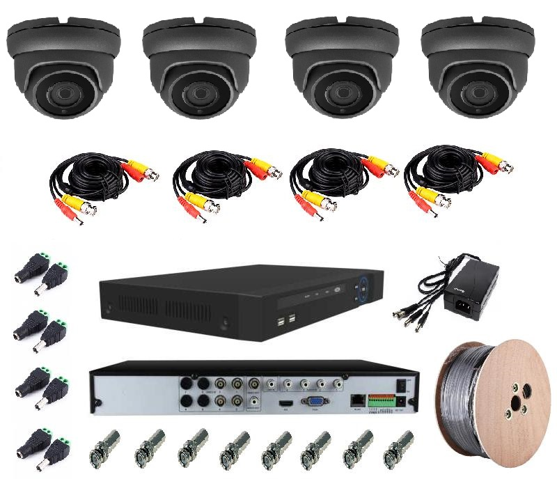 4 x Fixed Lens Weatherproof Dome Cameras 5MP + 5MP Realtime Network DVR