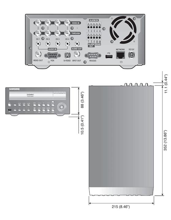 Samsung Samsung SRD-470DP Dimensions