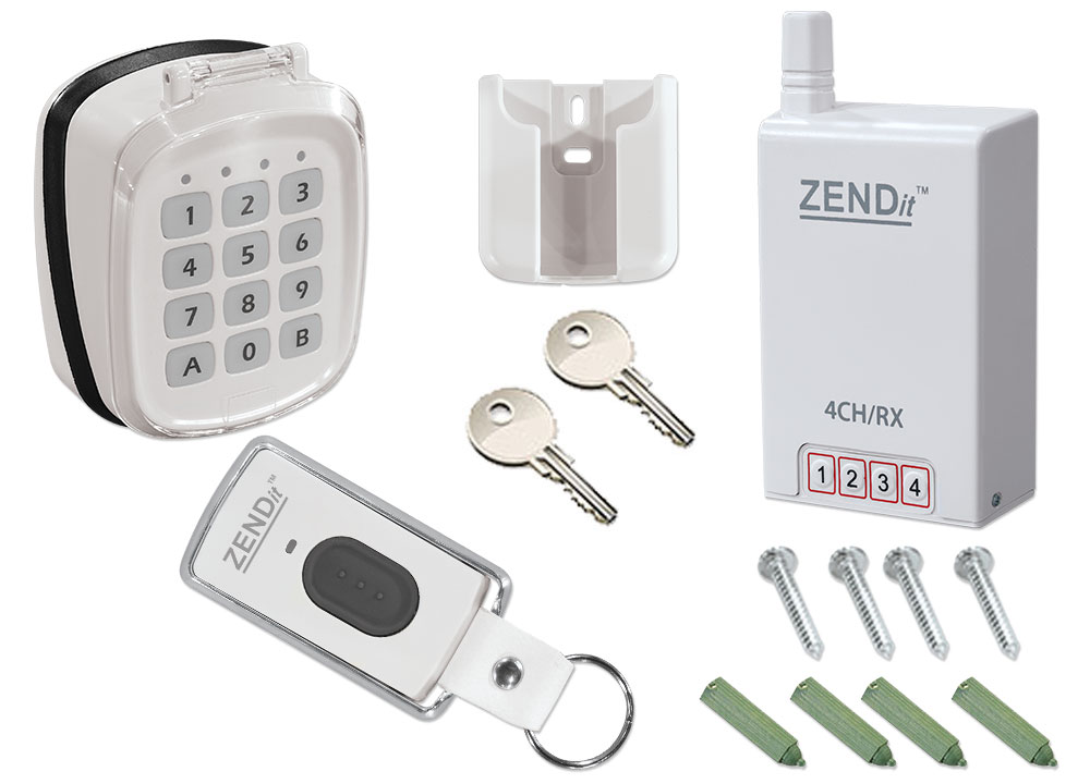 Wirefree Kit 1 x 2 Channel Key Fob + 2 Channel Key Pad + 4 Channel Receiver  (White)
