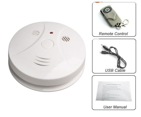 Smoke Detector Spy HD Camera + DVR + IR Remote with Motion Detection Recordings 720p Resolution